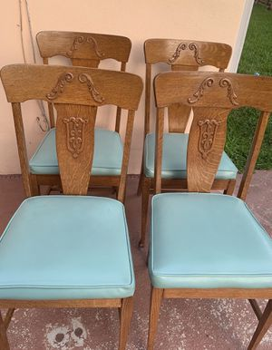Set of 6 vintage oak dining chairs for Sale in Lighthouse Point, FL