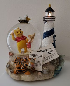 Disney Winnie The Pooh lighthouse musical snowglobe light-up water snow globe collectible statue for Sale in Fullerton, CA