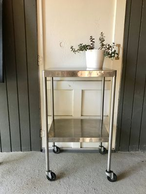 Stainless steel metal bar cart, outdoor bench, rolling table for Sale in Greenwood Village, CO