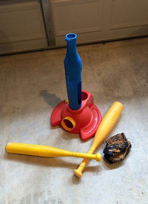Kids baseball glove, tee , balls, and bats for Sale in Ashburn, VA