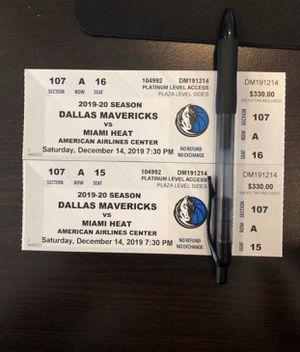 2 courtside tickets - Dallas Mavericks vs Miami for Sale in Dallas, TX