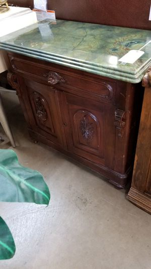 Beautiful Antique Cabinet with marble top 🦃We are located at 2811 E. Bell Rd. We are Another Time Around Furniture for Sale in Phoenix, AZ
