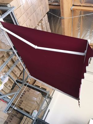 New in box Manual Patio 10 feet wide × 8' Retractable Sunshade Awning deck cover sun block canopy shade burgundy red toldo for Sale in Whittier, CA