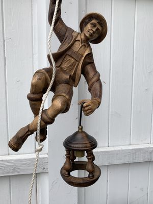 Vintage German Carved Wooden Mountain Climber with Hanging Light Fixture for Sale in Alexandria, VA