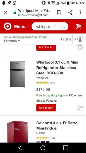 Whirlpool fridge/ freezer perfect condition for Sale in San Bernardino, CA