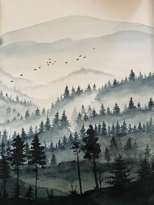 """Misty forest original watercolor painting 9 by 12"""" for Sale in Redmond, WA"""