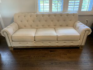 Chesterfield tufted cream linen sofa for Sale in Holmdel, NJ