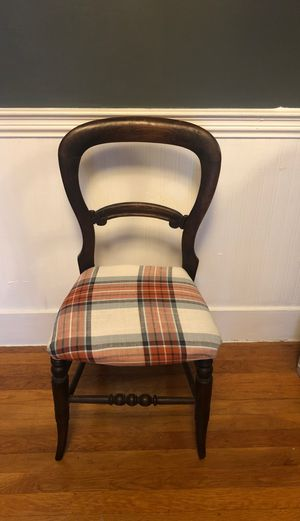 Antique brown wooden curved side chair for Sale in Boston, MA