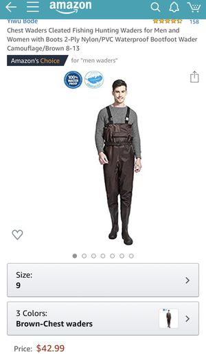 Brand new men's brown chest waders fishing outfit (size 9) for Sale in Monterey Park, CA