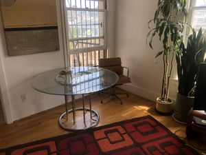 Mid Century Modern funky glass dining table for Sale in Los Angeles, CA