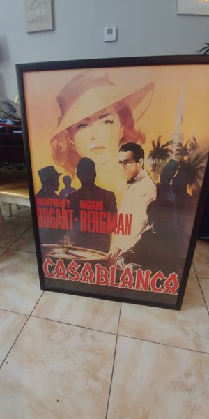 Framed Casablanca roulette table, with Humphrey Bogart and Ingrid Bergman with beautiful black frame and hardware on back ready to hang for Sale in Boynton Beach, FL