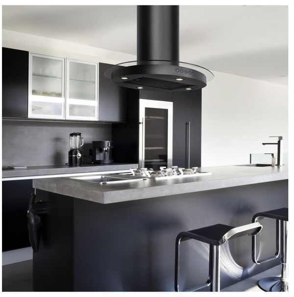 AKDY 30 in. Convertible Kitchen Island Mount Range Hood in Black with Circular Tempered Glass