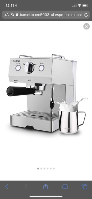 Barsetto Espresso Machine With Milk Frother,Espresso Maker, Coffee Maker with milk steamer,1050W,15 Bar Pump,Stainless Steel for Sale in Las Vegas, NV