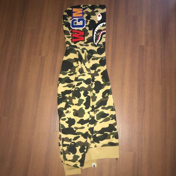 Bape A Bathing Ape Yellow 1st Camo Full Zip Shark Hoodie, Sz XL