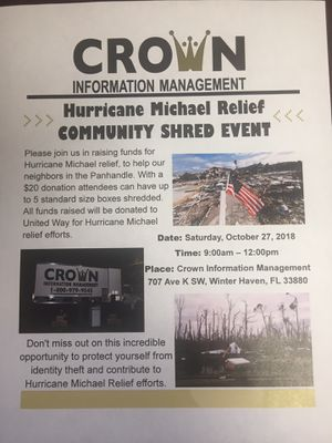 Hurricane Michael Shred Event for Sale in Winter Haven, FL