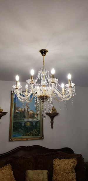 Crystal Glass Pendant Ceiling Lighting Fixture 8 Light Chandeliers for Sale in DORCHESTR CTR, MA