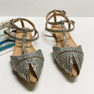 size 9 FSJ Women Comfy Glitter Ankle Wrap Peep Toe Flat Sandals Shoes for Sale in Las Vegas, NV