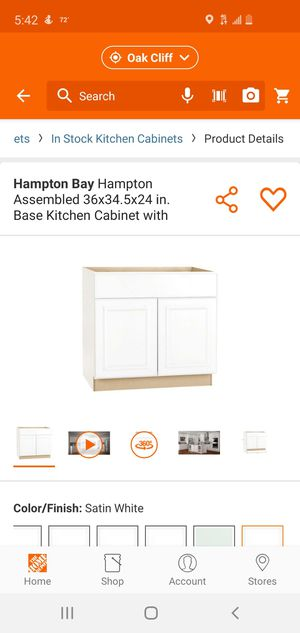 Hampton Bay Hampton Assembled 36x34.5x24 in. Base Kitchen Cabinet with Ball-Bearing Drawer Glides in Satin White for Sale in Dallas, TX