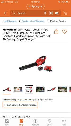 Milwaukee M18 FUEL Blower Kit with 8.0 battery for Sale in Houston, TX