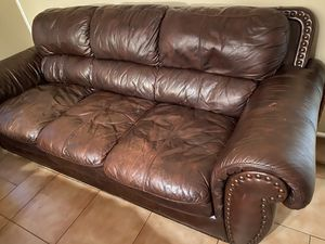 Real leather couch for Sale in New Braunfels, TX