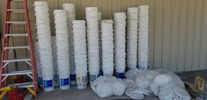 Approx 220 Heavy duty buckets and Lids approximately 6 gallons each for Sale in Austin, TX