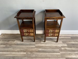 16x29x15 2 Solid Wood Nightstands Small Tall Side Tables With 2 Drawers & Shelf W/ Pull Out Tray *WE ACCEPT CREDIT CARDS* *DELIVERY for Sale in Lake Worth, FL