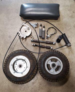 Mini bike parts wheels throttle break seat for Sale in Covina, CA