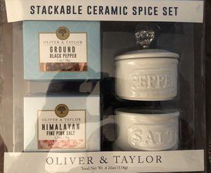 New Stacking Spice Set • Pink Himalayan Sea Salt & Pepper Ceramic Set for Sale in Arlington, VA