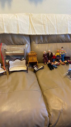 Wooden Dollhouse furniture and family for Sale in Albuquerque, NM
