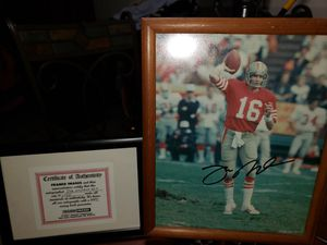 Autographed Joe Montana 8x10 with certificate of authenticity for Sale in Corona, CA