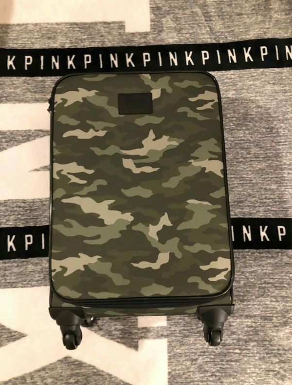 New Victoria's Secret pink camo wheelie carry on suitcase and mini backpack set