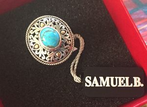 Artisan Silver by Samuel B. 18K Gold Accented 10 x 8mm Persian Turquoise Ring for Sale in Irwindale, CA