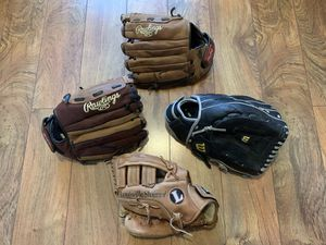 Lot of leather baseball gloves Wilson Rawlings LHT RHT for Sale in Tacoma, WA