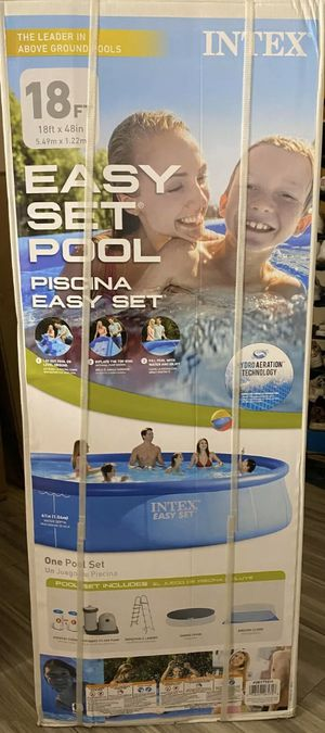 "Intex 18' x 48"" Easy Set Swimming Pool Kit with Pump, Cover, Filter, Ladder, and Trap for Sale in Huntington Beach, CA"