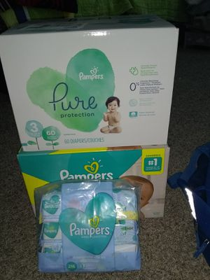 Pampers puré protection and Pampers swaddlers, wipes for Sale in Carrollton, TX