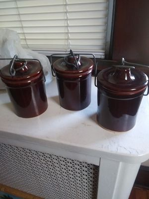 Stoneware cheese crocks$15 each for Sale in Belleville, NJ