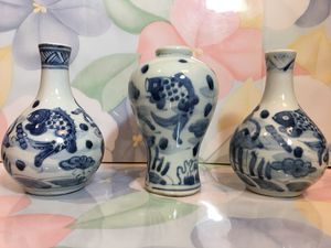 3 Chinese blue and white bottle vases for Sale in Blandford, MA