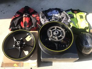 Racing jackets with liners size medium R1 stock motorcycle racing rims, racing helmet size large for Sale in Gerrardstown, WV
