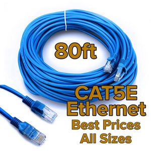 80ft Custom Length CAT5e / CAT6 1G / 1000Mbps / 10Gbps RJ45 Internet Cable Ethernet LAN Wireless Xbox PlayStation Smart TV for Sale in Pasadena, CA