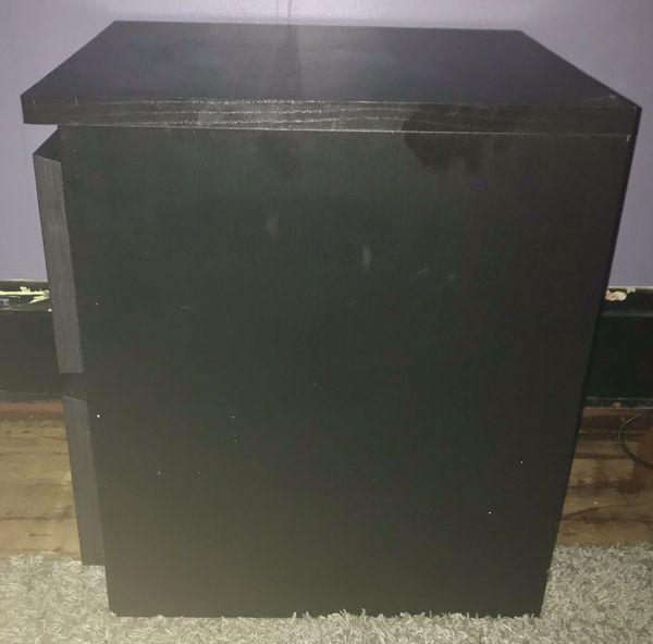 Black 2-drawer Side Night Tables (pair)