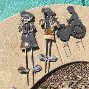 3 Garden Decor Scarecrows & Boy On Tractor for Sale in Casa Grande, AZ