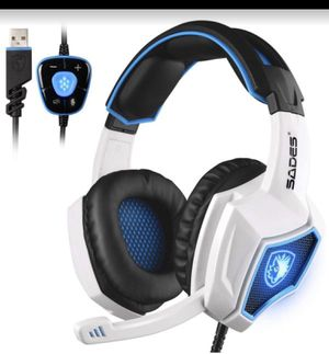 SADES Spirit Wolf 7.1 Surround Stereo Sound USB Computer Gaming Headset with Microphone,Over-the-Ear Noise Isolating,Breathing LED Light For PC Gamers for Sale in La Puente, CA