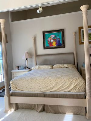 Luxury King Size Bed and frame. Satin Headboard. for Sale in Mill Valley, CA