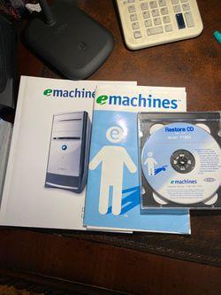 Emachines desktop PCs users guide. Restore cd for Sale in Belton,  SC