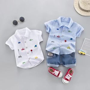 Summer Kids Toddler Boy Car Shirt Jeans 1 2 3 4 Years Clothing Set Short Sleeve Cotton Suit Children Clothing Boys Outfit for Sale in Orlando, FL