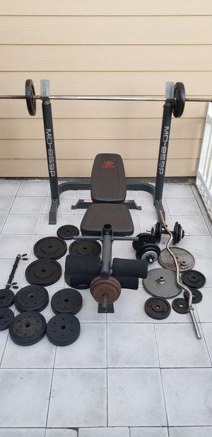 Bench press, bar, ez curl bar, weights for Sale in Huntington Beach, CA