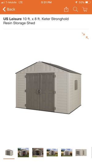 US Leisure 10 ft. x 8 ft. Keter Stronghold Resin Storage Shed for Sale in Shadow Hills, CA