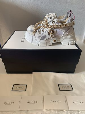 NIB Gucci Logo Flashtrek Leather White SEGA Ivory Removable Crystal US 10 $1590 for Sale in Los Angeles, CA