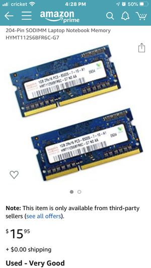 Hynix 2GB Kit 2x1GB 2Rx16 PC3-8500S DDR3 Laptop Notebook Memory (FREE IPHONE CABLE) for Sale in Issaquah, WA