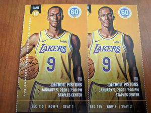 2 tickets Lakers vs. Pistons Section 115, Row 9 for Sale in Los Angeles, CA